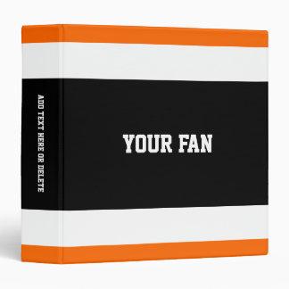 Football Black, Orange & White Personalized 3 Ring Binder