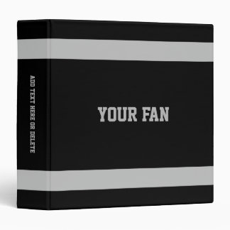 Football Black & Silver Personalized 3 Ring Binder