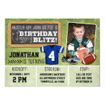 Football Blitz Kids&#39; Birthday Party Invitation<br><div class='desc'>Hut, hut, hike! It&#39;s game time! Give your little MVP a birthday party worthy of an All-Star! Perfect for the football player or fanatic. Easy customization! Simply replace the template text and photos with your own details and images. Be sure to use high-resolution photographs for best results! Bonus on the...</div>