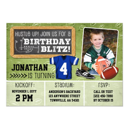Football Blitz Kids' Birthday Party Invitation