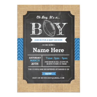 Football Blue Boy Baby Shower Rugby Invite