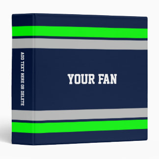 Football Blue, Green & Grey Personalized Binder