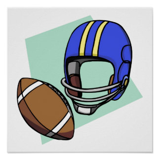 football blue helmet poster