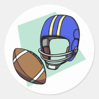 football blue helmet classic round sticker