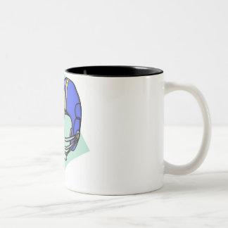 football blue helmet Two-Tone coffee mug
