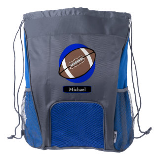 Football Blue Personalized Drawstring Backpack