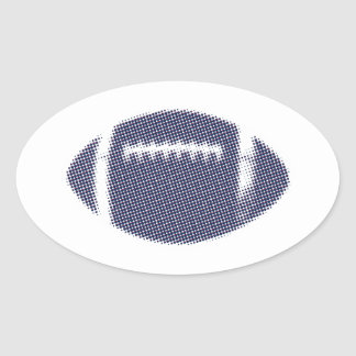 Football Blue Red Silver Oval Sticker
