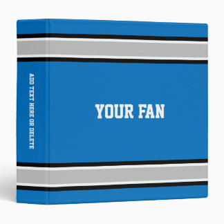 Football Blue, Silver, Black & White Personalized Binder