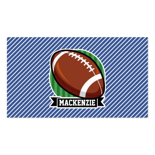 Football Blue & White Stripes Sports Business Card