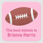 Football bookplate book label / tag for girls square stickers