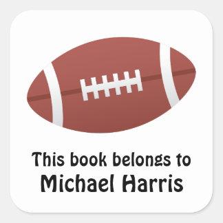 Football bookplate book label / tag for kids square sticker