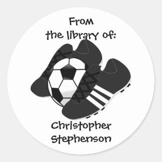 Football Boots Bookplate Classic Round Sticker