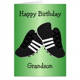 Football Boots Grandson Birthday Card