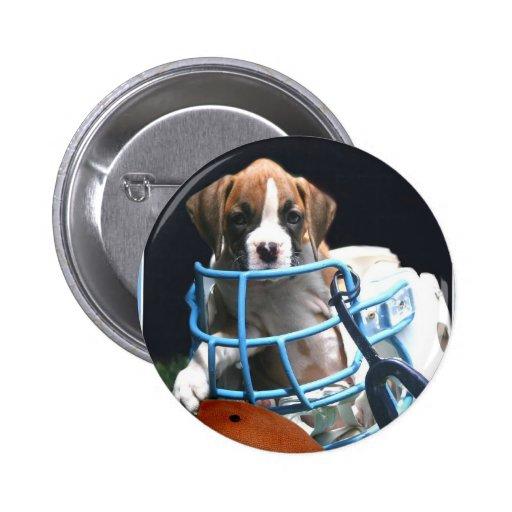Football Boxer puppy button