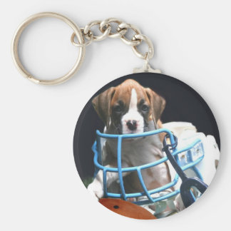 Football Boxer puppy keychain