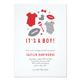 Football Boy Baby Shower Card