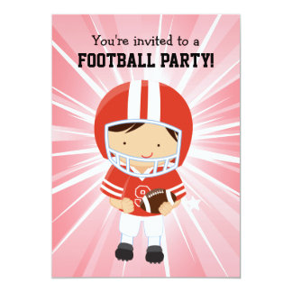 Football Boy in Red and White Birthday Party Invites