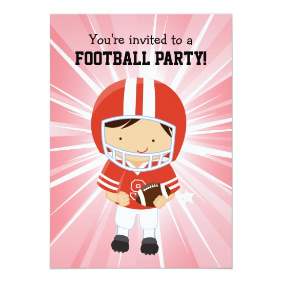 Football Boy in Red and White Birthday Party Invitation