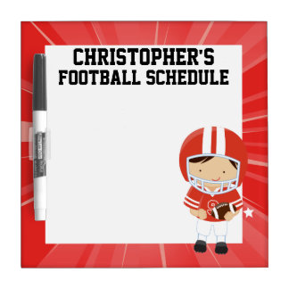 Football Boy in Red and White Dry-Erase Board