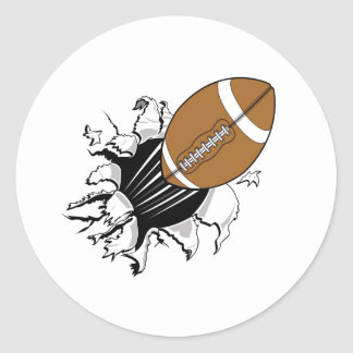 Football Breaking Out Classic Round Sticker