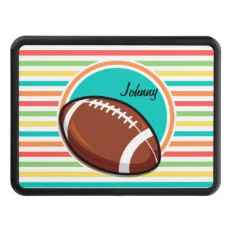 Football; Bright Rainbow Stripes Trailer Hitch Cover