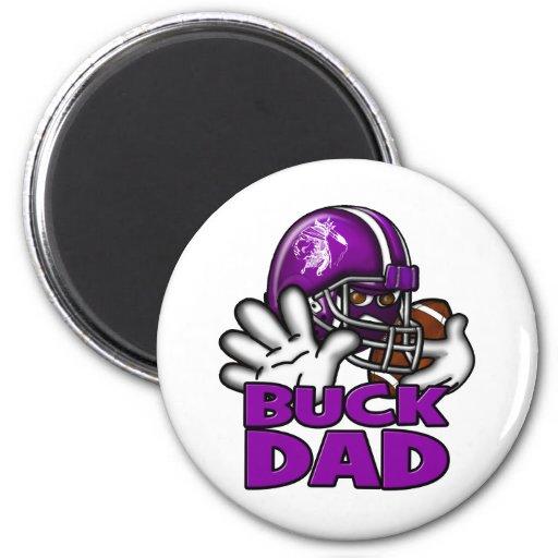 Football Buck Dad 2 Inch Round Magnet