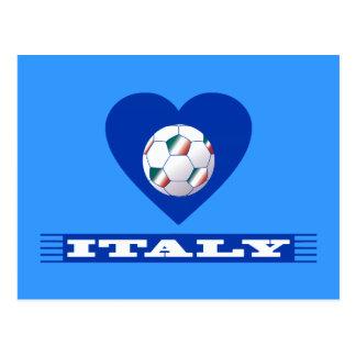 FOOTBALL Bufanda ITALY y balón fútbol en corazón Postales