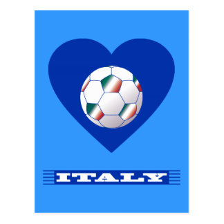 FOOTBALL Bufanda ITALY y balón fútbol en corazón Tarjetas Postales