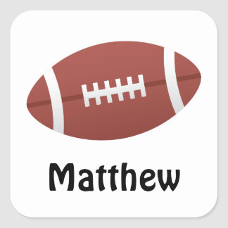 Football cartoon illustration name stickers/tags square sticker