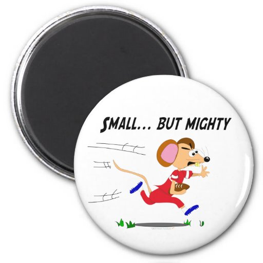 Football Cartoon Mouse Small But Mighty 2 Inch Round Magnet