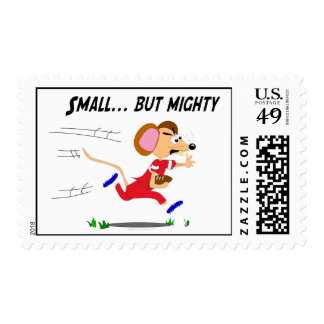 Football Cartoon Mouse Small But Mighty Postage Stamp