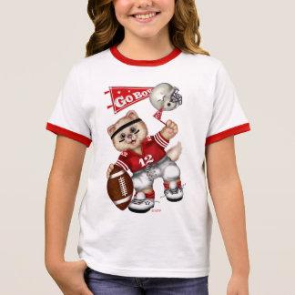 FOOTBALL CAT Girl's Ringer T-Shirt 7