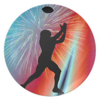 Football Catch in Rocket's Red Glare Melamine Plate