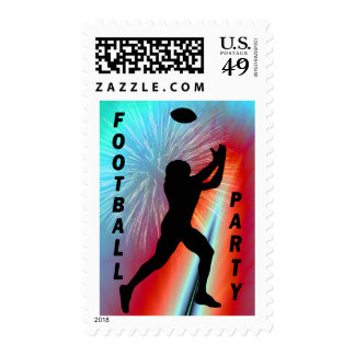 Football Catch in Rocket's Red Glare Party Stamps
