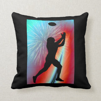 Football Catch  Rocket's Red Glare Throw Pillow
