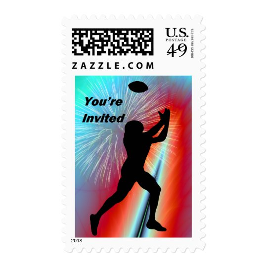 Football Catch  Rocket's Red Glare You're Invited Postage