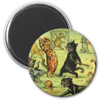 Football Cats by Louis Wain Artwork 2 Inch Round Magnet