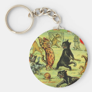 Football Cats by Louis Wain Artwork Key Chains