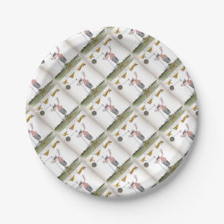 football centre forward red white stripes paper plate