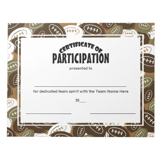 football certificates of participation notepad zazzle com