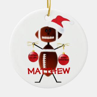 Football Christmas Cartoon Double-Sided Ceramic Round Christmas Ornament