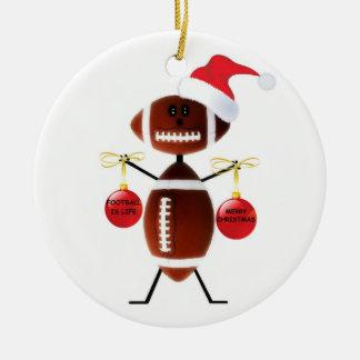Football Christmas Ceramic Ornament
