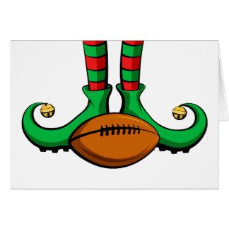 Football Christmas Elf Feet Card