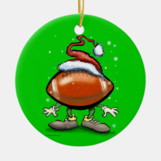 Football Christmas Double-Sided Ceramic Round Christmas Ornament
