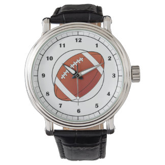 Football Clock Face on White Wristwatch