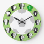 Football Clock - with black & white striped Shirts