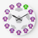 Football Clock - with Claret and Blue Shirts