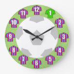 Football Clock - with claret & blue Shirts