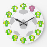 Football Clock - with Green and Yellow Shirts