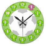 Football Clock - with green & yellow Shirts